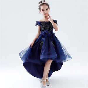 Children Girls Model Show Catwalk Shoulderless Evening Party Fluffy Tail Dress Summer Kids Toddler Birthday Wedding Party Dress