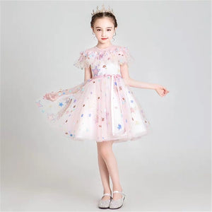 Little Girls Baby Sweet Pink Color Elegant Sequined Birthday Wedding Party Princess Fluffy Dress Infant Toddler Host Tutu Dress
