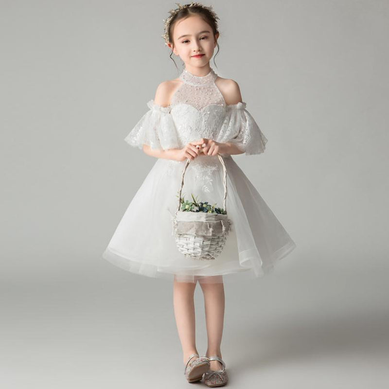 2019 New Girls Mesh Spliced Lace Strapless Tutu Princess Dress For Girls Wedding Party Dress Modis Kids Clothes Vestidos Y1529