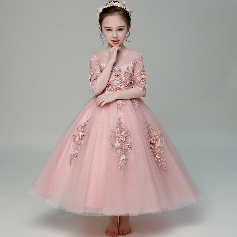 Pink Flower Girl Dresses for Wedding Half Sleeve Appliques First Holy Communion Dress Ball Gown Princess Dress Party Gowns B298