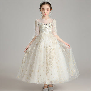 201 Children Girls Fashion New Embroidery Flowers Birthday Wedding Party Princess Fluffy Dress 3~14T Kids Host Piano Model Dress