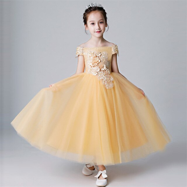 Children Girl Luxury Shoulderless Golden Birthday Wedding Party Appliques Flowers Princess Lace Dress Baby Kids Host Piano Dress