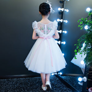 Luxury Princess Dress 2018 Ball Gown Flower Girls Dresses V-neck Holy Communion Dress Kids Pageant For Wedding Party Dress D145