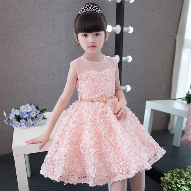 2019New Elegant Children Girls Tailing Pageant Princess Dress Kids 3-15Years Weddings Party Birthday Tutu Dress With Long Tails