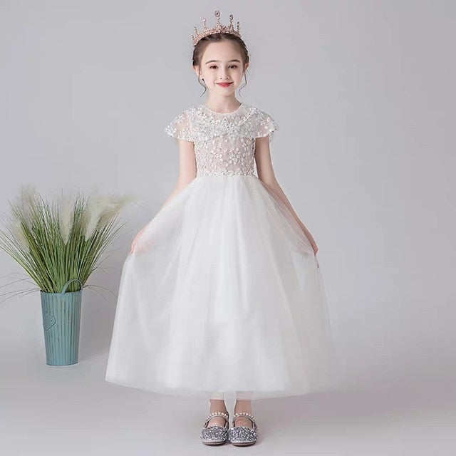 3~13Years Children Girls Pure White Color Birthday Wedding Party Princess Long Fluffy Dress Kids Teens Host Piano Pageant Dress