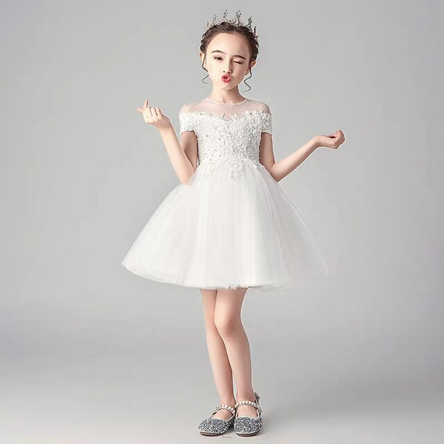 Baby Kids White Color Korean Sweet Birthday Wedding Party Princess Lace Mesh Dress Children Infant Ceremony Host Piano Dress