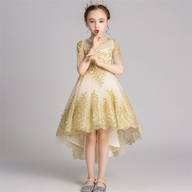 2019Luxury New Children Girls Embroidery Lace O-Neck Birthday Wedding Party Princess Lace Dress Kids Host Piano Pageants Dress