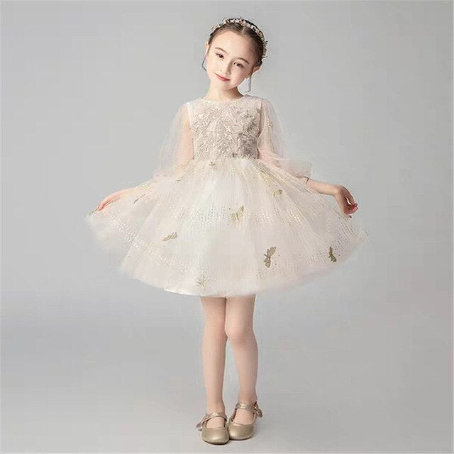 Baby Infant Elegant Champagne Color Birthday Wedding Evening Party Princess Mesh Dress 3~13YRS Girls Children Host Costume Dress