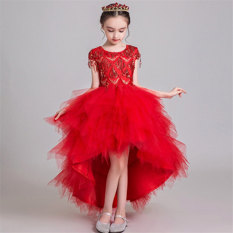 High-Grade Children Girls Bright Red Color Birthday Wedding Party Princess Tail Prom Dress Kids Fashion Tassel Decoration Dress