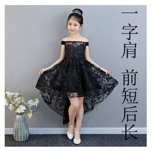 5 Styles Black Kids Flower Girl Dresses Wedding Birthday Party Ball Gown Floral Appliques First Communion Gowns Princess Dress