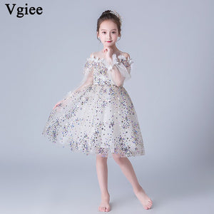 Vgiee Kids Dresses for Girls Wedding Party Birthday Baby Boy Clothes Mesh Sleeveless Knee-Length Big Girl Summer Dress CC661