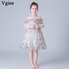Vgiee Little Girls Dresses Princess White Dress Mesh Cotton Draped Full Knee-Length Girls Dresses for Party and Wedding CC661A