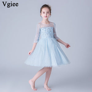 Vgiee Kids Party Dresses for Girls Half Casual Cotton Solid Blue Princess Dress Girls Dresses for Birthday and Wedding CC668