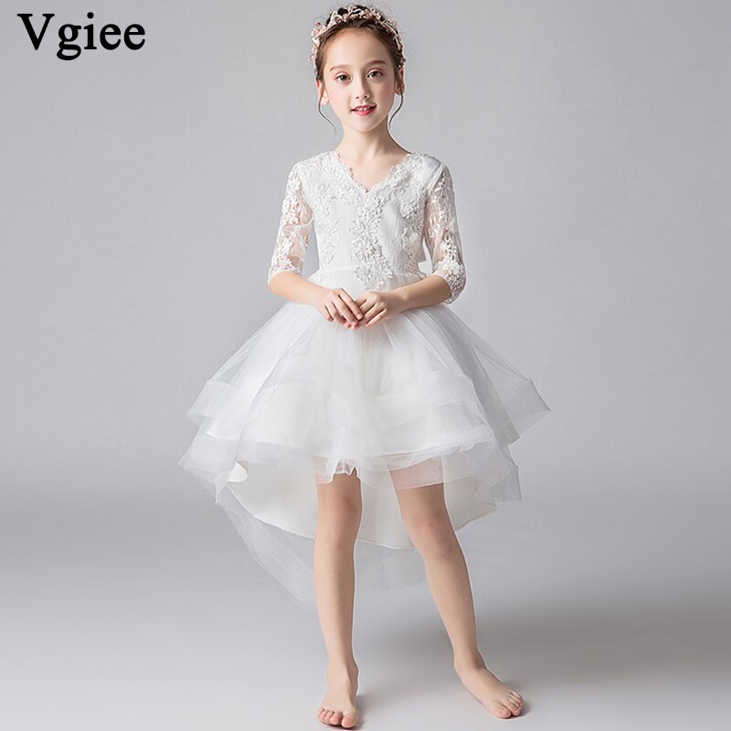 Vgiee Princess Dress for Girls Kids Mesh Knee-Length Solid White Girls Dresses for Party and Wedding Girl Clothes CC670