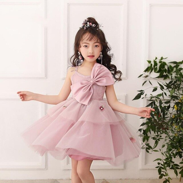 Baby Girl Princess Dress Wedding Birthday Party Gown Children Lace Mesh Prom Ball Gown toddler Big Bow Appliques Vestidos Y1280