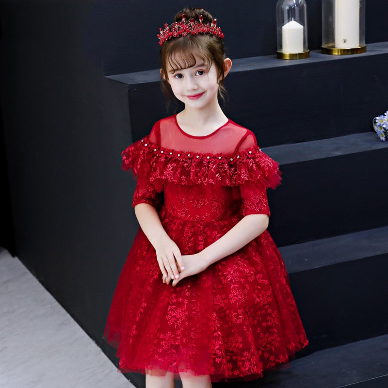 Wine Red Embroidery Flower Girl Dresses for Wedding Crystal Ball Gown Kids Pageant Dress Princess Birthday Costume B415