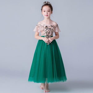 Luxury Appliques Flower Girl Dresses Shoulderless Kids Formal Dress Wedding Ball Gown Tulle Evening Gowns Party Dress Y607
