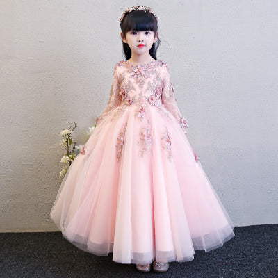 Long sleeve winter wedding dresses kids sweet 16 ball gowns pink wedding dress flower appiques girl tutu chinese fairy costume
