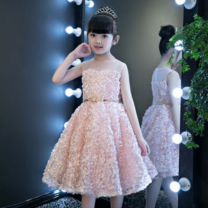 Grey feather dress childevening kid flower girl gown in wedding fairy formal party dress with long tail show performance costume