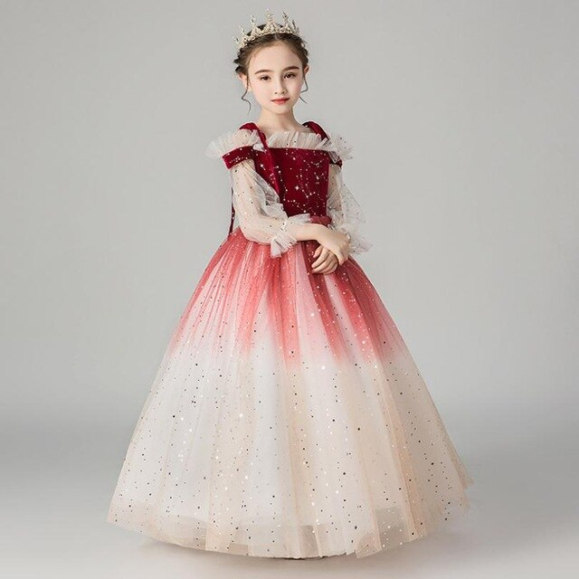 Luxury Girls Princess Dresses 2019 New Girls Pageant Ball Gowns Weddings Birthdays party Dress Modis Kids Clothes Vestidos Y2136