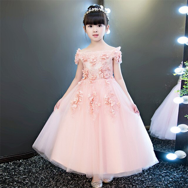 2018 Noble Pink Children Girls Fashion Shoulderless Birthday Wedding Party Long Dress Babies Girls Flowers Princess Lace Dress