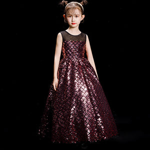 Luxury Sequined Holy Communion Dress Ball Gown Flower Girl Dresses for Wedding Birthday Floor Length Plaid Girl's Formal Dress
