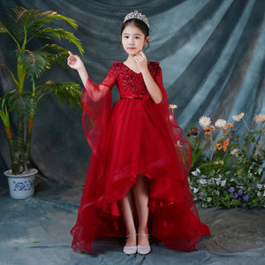 Wine Red Flower Girl Dresses Wedding Long Trailing Flare Sleeve Appliques Evening Gowns V-neck Kids Pageant Dress Party Vestidos