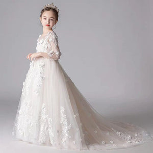 4~14Years Pure White Children Girls Elegant Appliques Flowers Wedding Birthday Party Princess Long Dress Kids Teens Host Dress