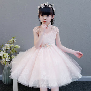 2019 Summer Elegant Sweet Pink Children Girls Luxury Embroidery Lace Birthday Wedding Party Princess Ball Gown Dress Clothes