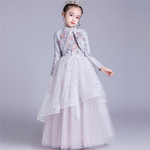 New Arrival Children Girls Elegant Embroidery Flowers Wedding Birthday Party Ceremony Princess Fluffy Dress Host New Year Dress