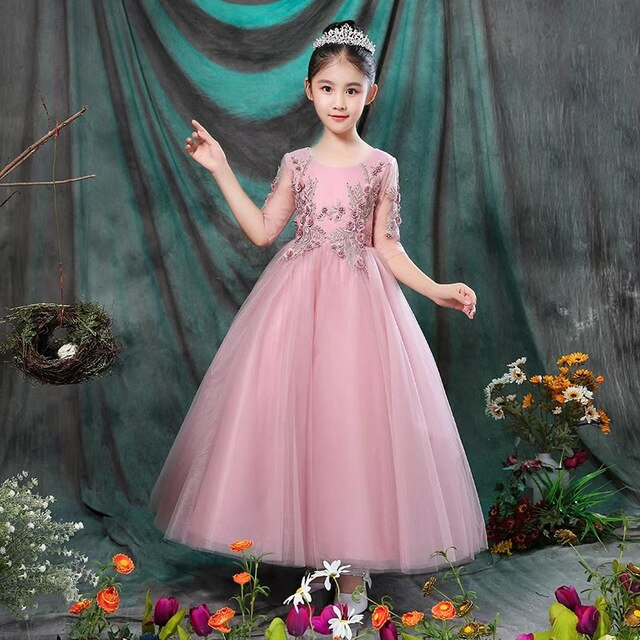 Good Quality Kids Children Wedding Birthday Party Princess Prom Dress Teenagers Girls Model Show Host Piano Costume Mesh Dress