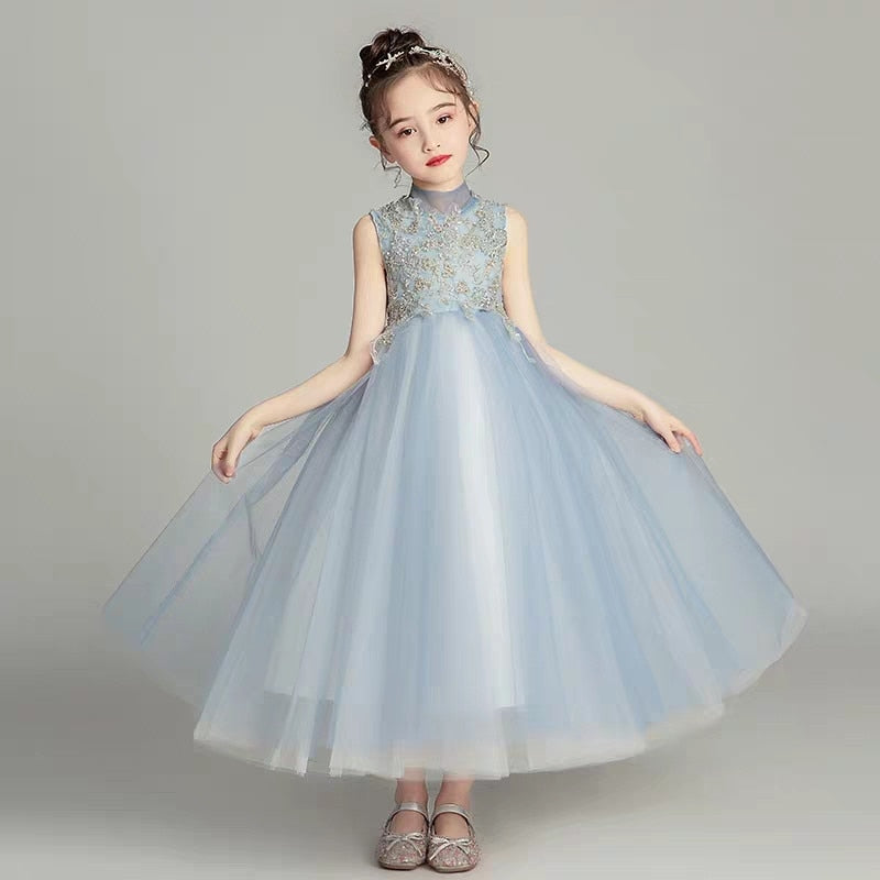 Children Girls Elegant Summer Sleeveless Lace Princess Dress For Birthday Wedding Party Kids Teens Piano Costume Host Tutu Dress