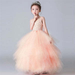 2019Summer Sweet Pink Color Children Girls Birthday Wedding Party Princess Prom Mesh Dress Kids Teens Host Piano Pageants Dress