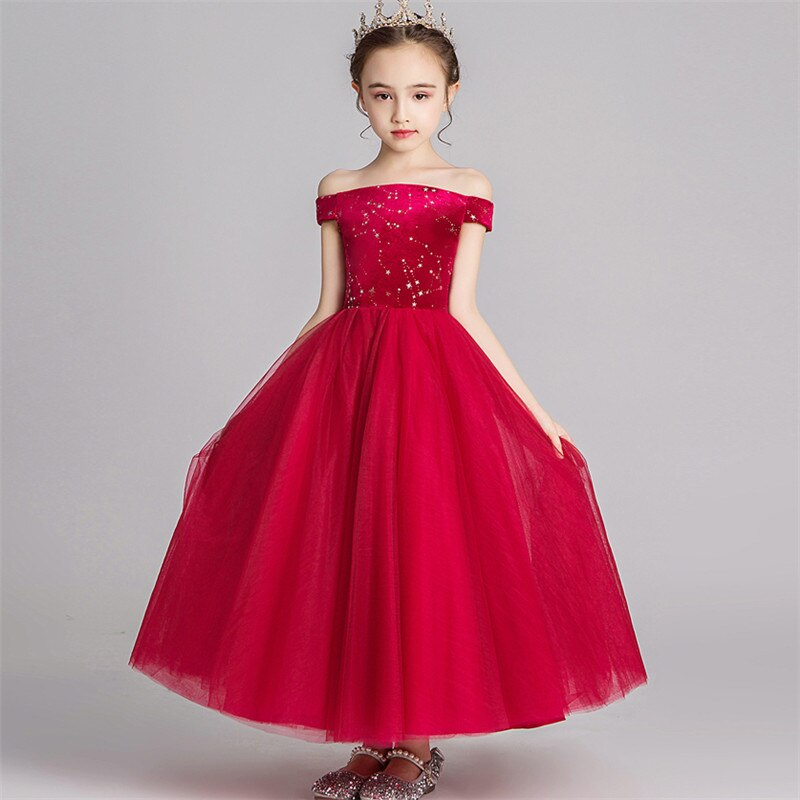 Children Little Girls Elegant Shoulderless Wine-red Birthday Wedding Party Princess Mesh Dress Baby Host Piano Long Dress Wear