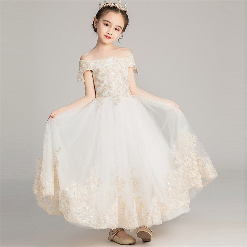 2019Summer Luxury Children Girls New Shoulderless Embroidery Lace Birthday Wedding Party Princess Long Dress Infant Kids Clothes