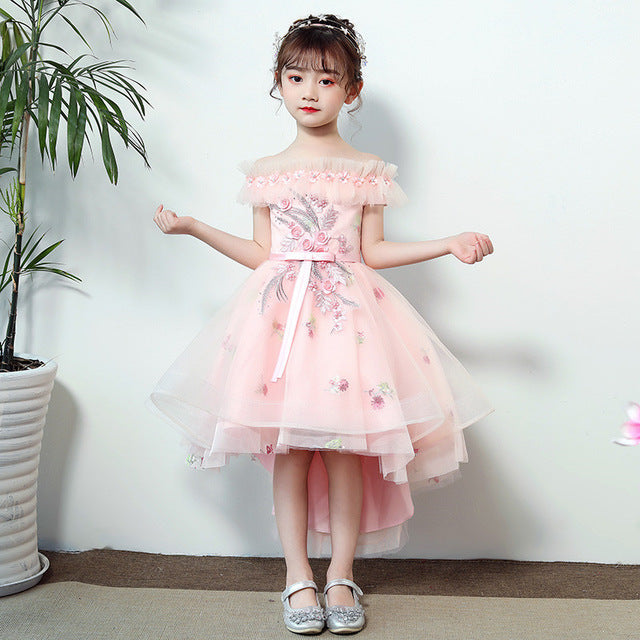 Little Kids Children Sweet Pink Appliques Flowers Shoulderless Birthday Wedding Party Prom Dress Infant Girls Host Costume Dress