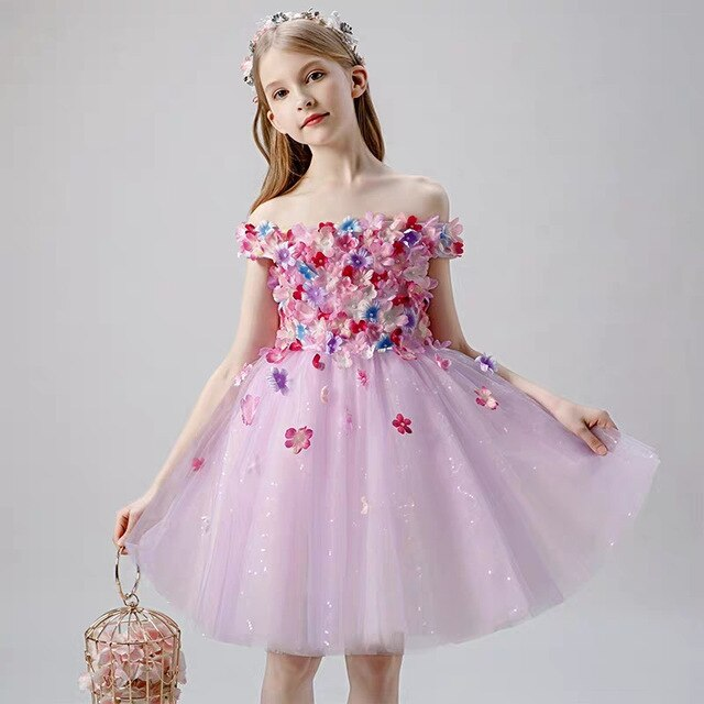 Luxury New Children Girls Birthday Wedding Evening Party Appliques Florals Long Tail Dress Model Show Kids Host Costumes Dress