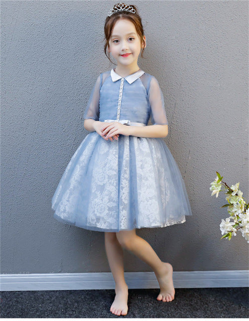 Baby Girl Summer Elegant Luxury Blue Lace Piano Long Dress for Teens3 5 7 9 13 15 Girl Wedding Birthday Party Ball Gown Dresses