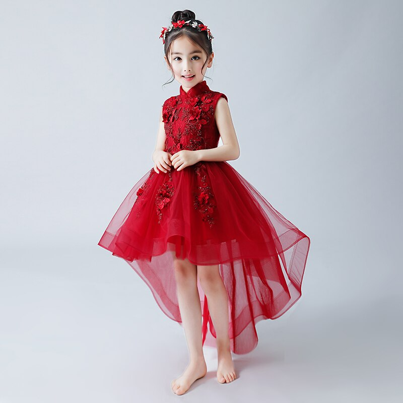 Flower Girl Dresses for Wedding Stand Collar Princess Prom Dress Apliques Short Front Long Back Kids Pageant Dress for Birthday