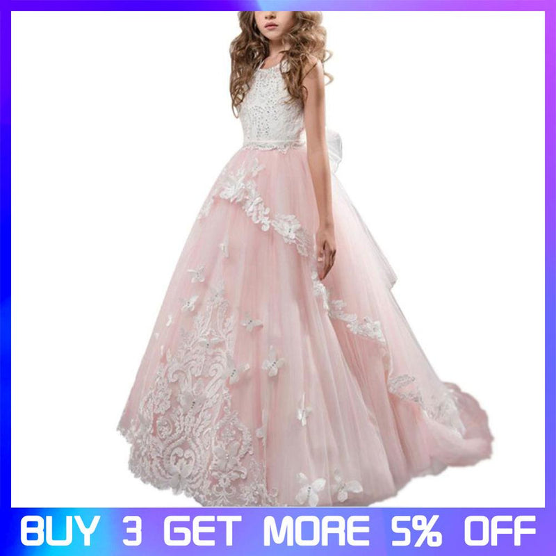 Girls Dress Princess Wedding Dress Lace Handmade Flower Net Yarn Show Birthday Girls Tutu Dresses Ball Gown for Teenage Girls