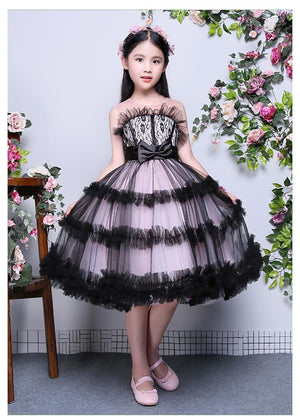 Royal 2018 Ball Gown Princess Flower Girls Dress Shoulderless Appliques Backless Kids Pageant Dress For Birthday Wedding M33