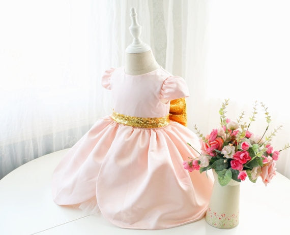 Pink cute Arab baby girl dress cap sleeve ball gown toddler birthday party outfits with gold bow flower girls dress for wedding