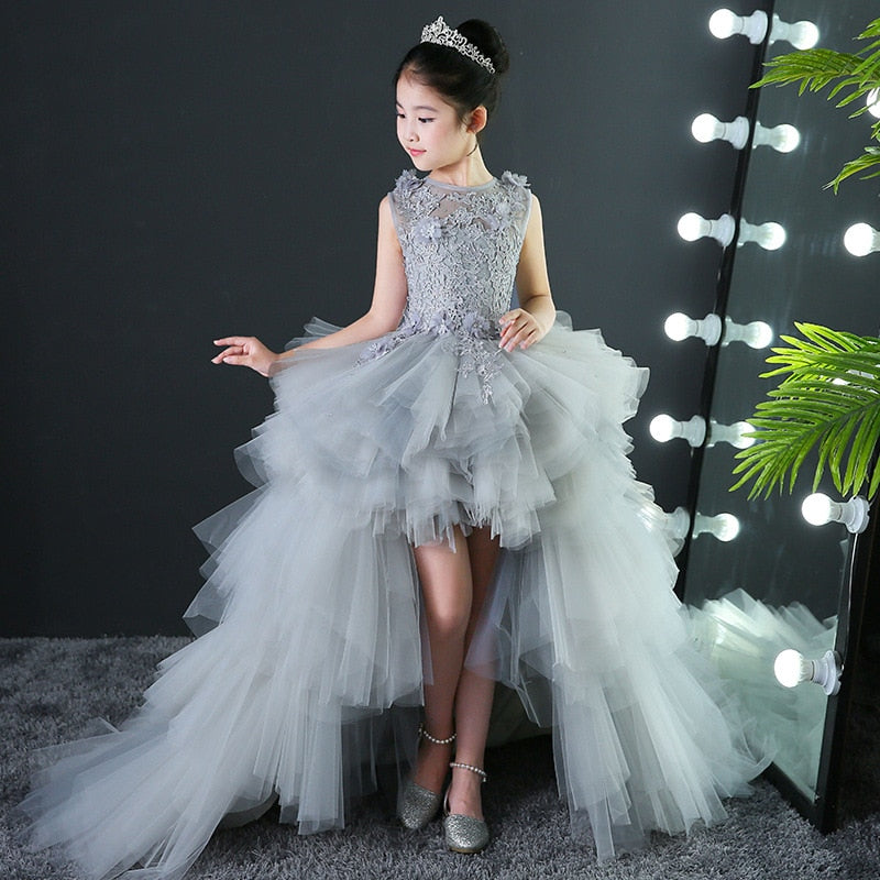Custom Made Luxury Grey Pageant Dress Kids Birthday Wedding Ball Gown Party Dress Crystal Bandage Flower Girl Dresses Long Train