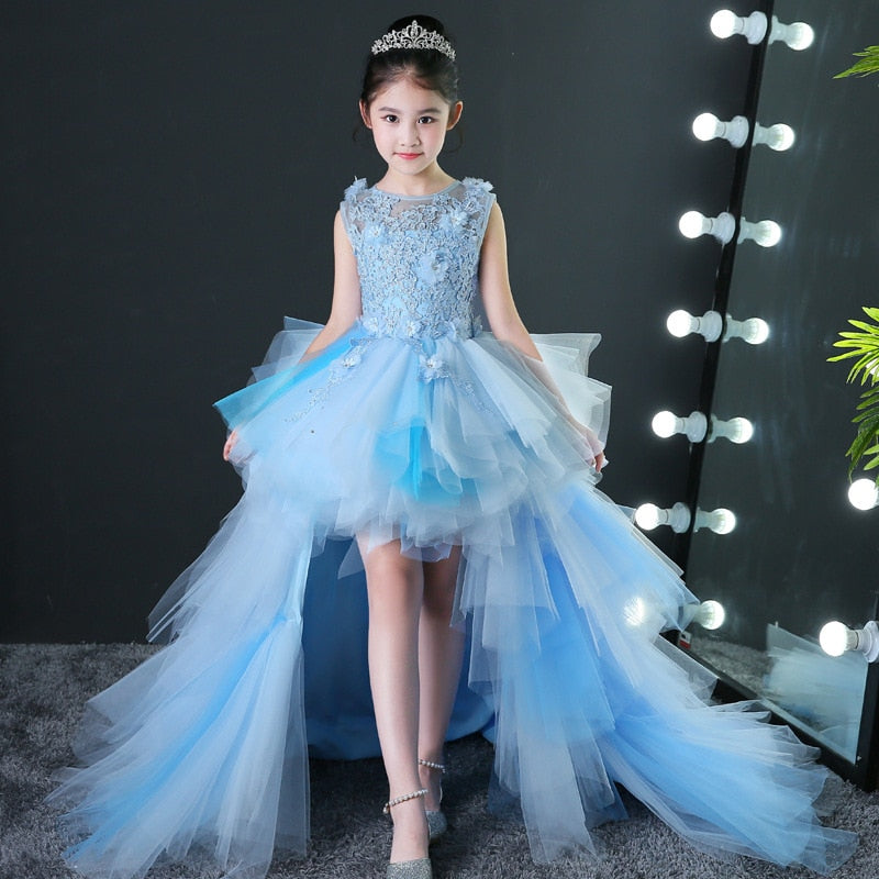 Luxury Blue Puffy Flower Girl Dresses for Wedding Detachable Long Trailing Princess Dress Ball Gown Appliques Kids Evening Gowns