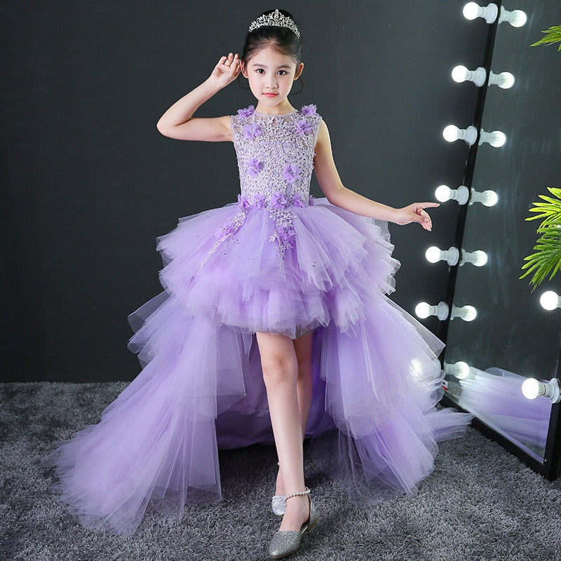 Noble Kids Evening Wedding Gowns Lavender Puffy Layered Detachable Flower Girl Dresses Chapel Train Princess Holiday Ball Gown