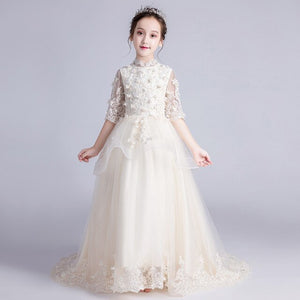 Long Trailing Holy Communion Dress Little Girls Formal Dress Embroidery Flower Girl Dresses for Wedding Birthday Costume B306