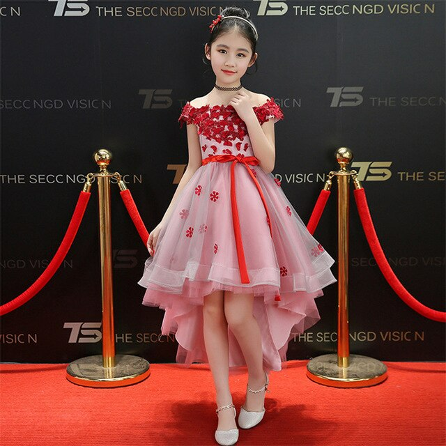 2018Children Kids Fashion Shoulderless Birthday Wedding Party Tail Ball Gown Dress Babies Girls Flowers Princess Pageant Dress