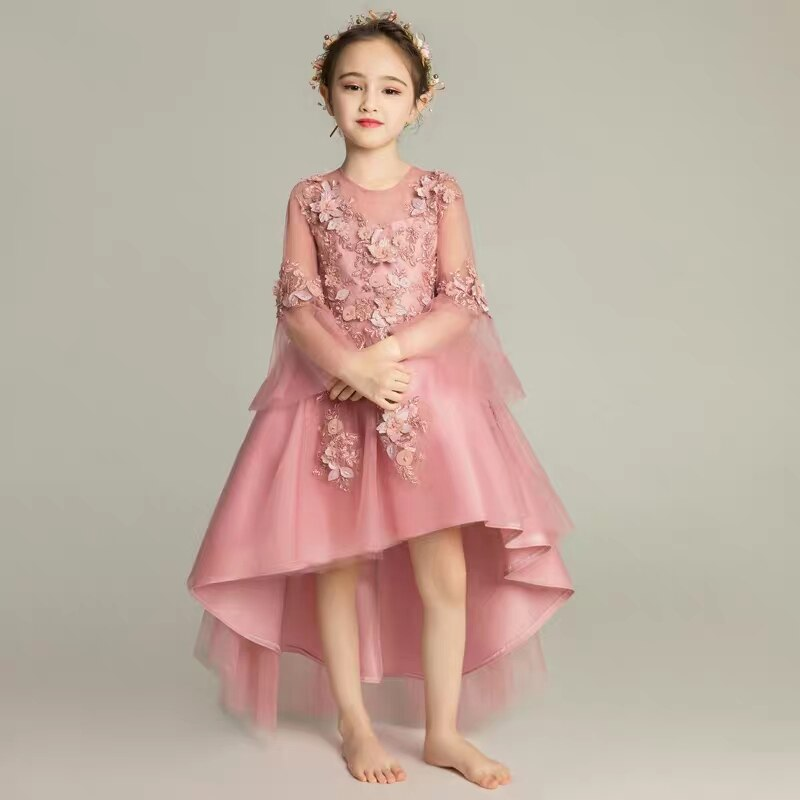 2018 Autumn New Noble Children Girls Wedding Birthday Puff Flowers Princess Tail Dress Model Catwalk piano performance clothing
