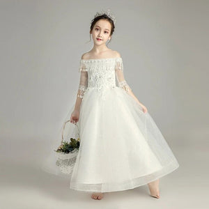 Children Girls Pure White Color Birthday Wedding Party Princess Long Dress Elegant Kids Teens Shoulderless Evening Party Dress