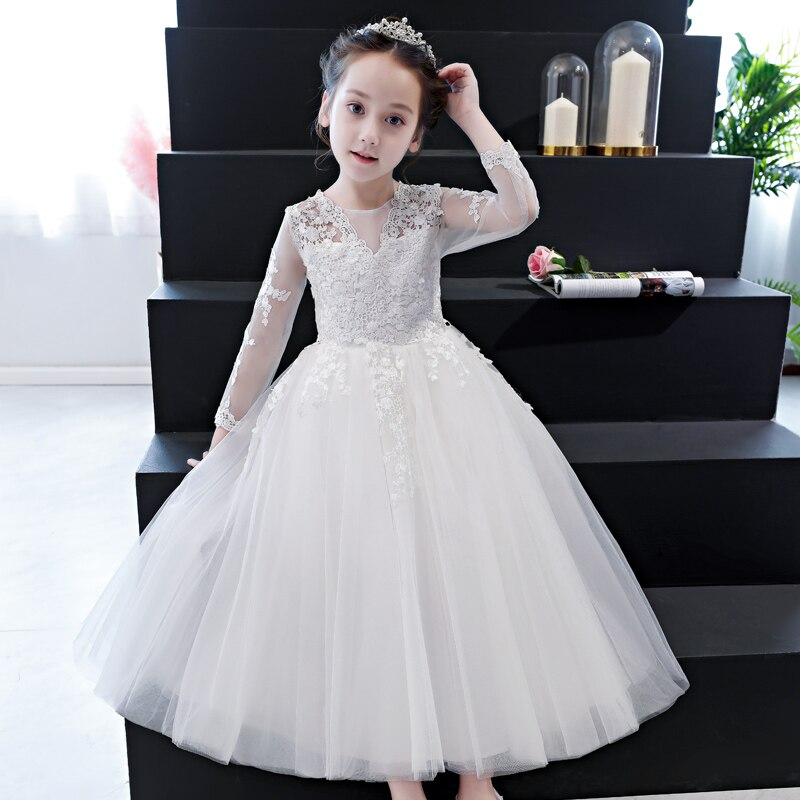 2018Autumn Elegant Girls Full Sleeves White Lace Princess Dress Children Wedding Birthday Dress Fancy Party Pageant Formal Dress